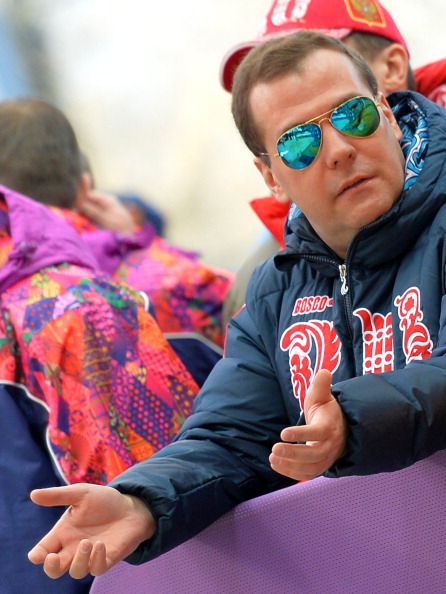 Russian Prime Minsiter Dmitry Medvedev at the bobsleigh ©Getty Images
