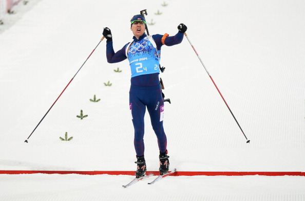 Emil Hegle Svendsen crosses the line for his second gold medal in as many days in a historic victory for Norway ©Getty Images
