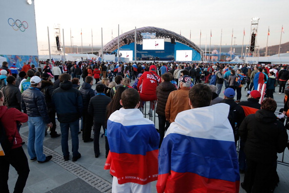 Fans crowd into the Olympic Park to catch a glimpse of the ice hockey action ©Getty Images