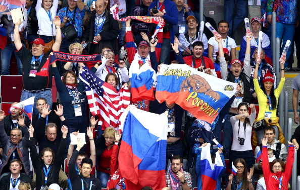 Great to see US and Russian flags side by side in the ice hockey...but no quarter is being given on the ice ©Getty Images