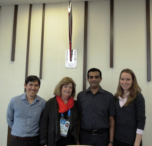 Gunilla Lindberg (second from left) meets the three ANOC scholars at RIOU: Jorge Mario Marroquín Menéndez (left) Llanga Pathirathnalage Wijeratne (centre right) and Evelyn Hopp (right) ©ANOC
