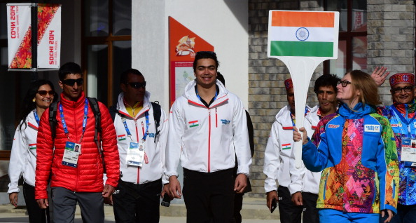 Indian athletes marched behind their own flag during a special ceremony at the Sochi 2014 Olympic Village ©AFP/Getty Images
