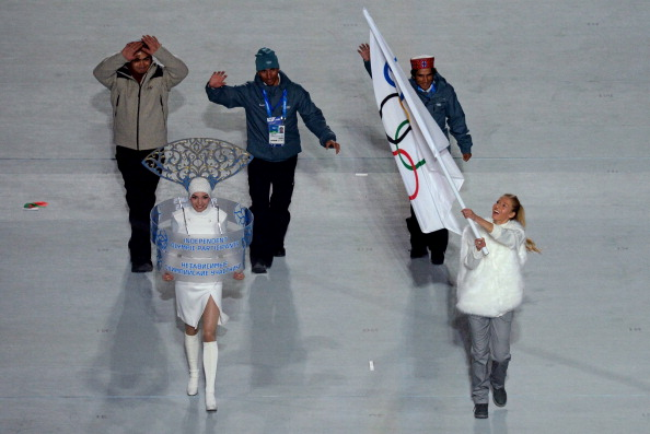Indias Shiva Keshavan Nadeem Iqbal and Himanshu Thakur are competing as independent athletes under the Olympic flag at Sochi 2014 Getty Images