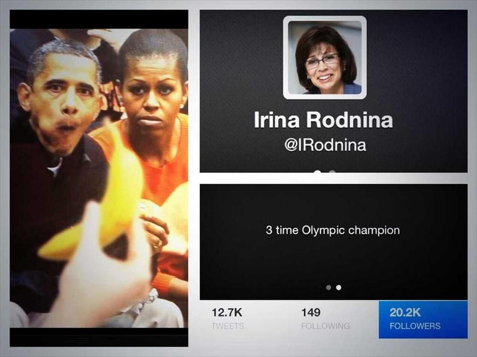 A tweet of Barack OBama and his wife Michelle looking at a banana posted by Irina Rodina was deleted just hours before she lit the Olympic Flame at Sochi 2014 ©Twitter