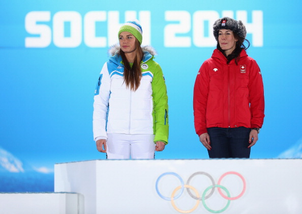 Tina Maze and Dominique Gisin shared the women's downhill Olympic title ©Getty Images