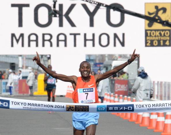 Kenya's Dickson Chumba finished first in the men's race at the 2014 Tokyo Marathon in a new course record ©Getty Images