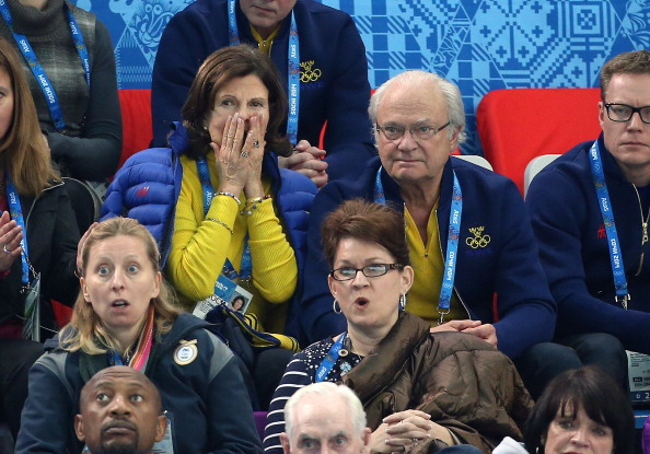King Carl XVI Gustaf of Sweden and Queen Silvia of Sweden cheer on their men's curling team as they beat Russia 8-4 ©Getty Images