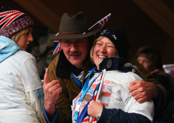 The parents of Lizzie Yarnold look nervous but excited as their daughter powers towards Olympic gold ©Getty Images