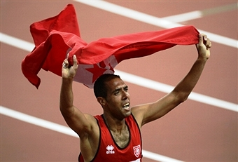 Mahmoud Khaldi celebrates one of nine Paralympic gold medals for Tunisia at London 2012 ©AFP/Getty Images