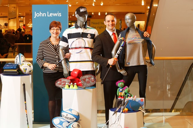 Managing director John Lewis Glasgow, Kim Lowe along with Glasgow 2014 chief executive David Grevemberg announcing the retailer's partnership with the Commonwealth Games ©Glasgow 2014