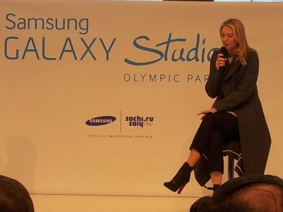 Maria Sharapova spoke at the opening of the Samsung Galaxy studio here this morning ©ITG