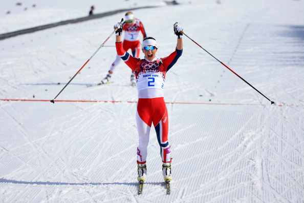 Marit Bjoergen win her sixth Olympic gold medal in a Norwegian clean sweep ©Getty Images