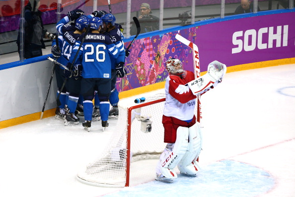 Mixed emotions in the ice hockey as Finland celebrate taking the lead over Russia ©Getty Images
