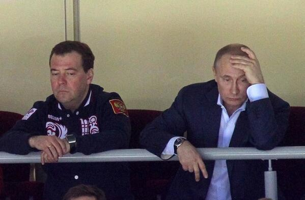 The emotions of Dmitry Medvedev and Vladimir Putin will be seen on the faces of most Russians at the moment ©Twitter