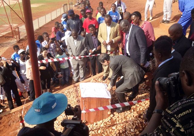 Officials from the Embassy of Japan and the UBSA open the new dedicated baseball and softball facility in Gayaza ©WBSC