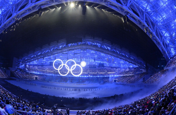 One of the Olympic Rings fails to appear during the Sochi 2014 Olympic Opening Ceremony ©AFP/Getty Images