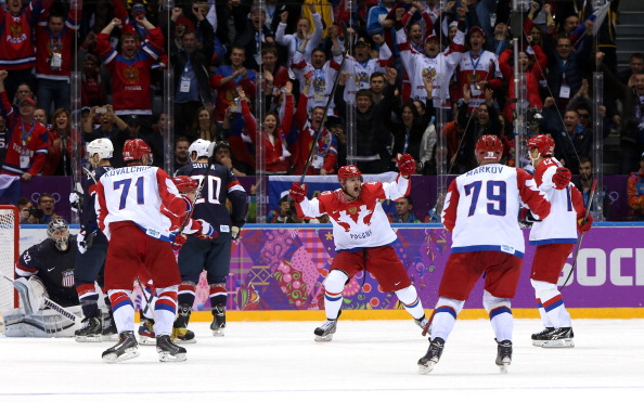 Russia celebrate making it 2-2 against the US ©Getty Images