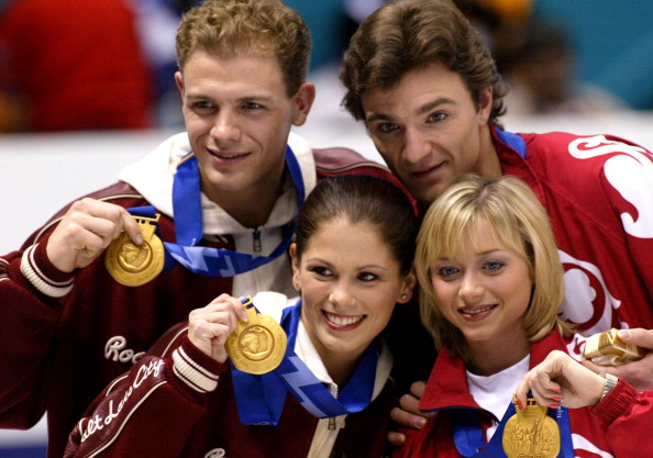 Russian and Canadian pairs were each awarded gold medals at Salt Lake City 2002 ©Boston Globe/Getty Images