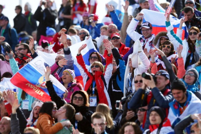Russian fans celebrate one of 13 gold medals won by its athletes at Sochi 2014 ©Getty Images