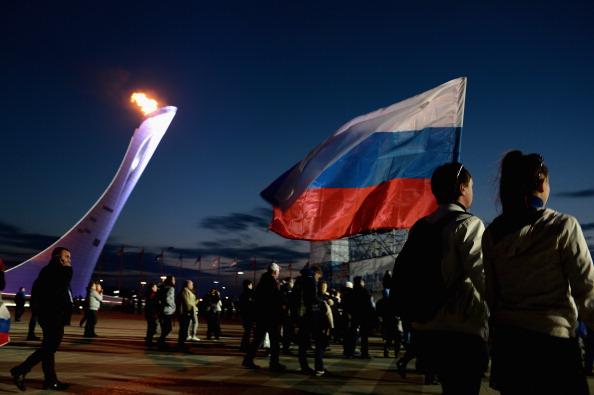 Russian fans in front of Sochi 2014 cauldron