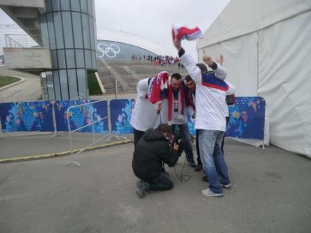 Slovakia fans perform a national chant for a television crew ©Philip Barker