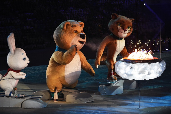 Memories of Misha the bear from Moscow 1980 were evoked when the Sochi 2014 mascots helped bring the curtain down on the Closing Ceremony ©Getty Images