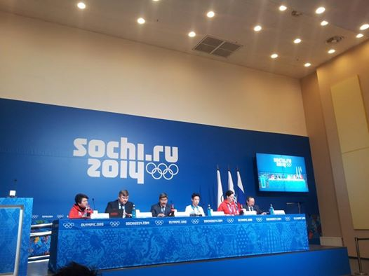 Speakers from Almaty 2022 face the media this afternoon ©ITG