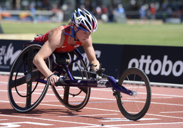 Tatyana McFadden will switch the track for the slopes as she makes her debut in the Winter Paralympics in Sochi next month ©Getty Images