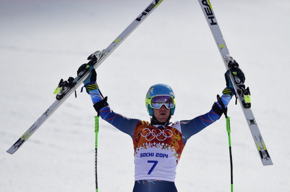 Ted Ligety celebrates after his historic giant slalom victory for the US ©AFP/Getty Images