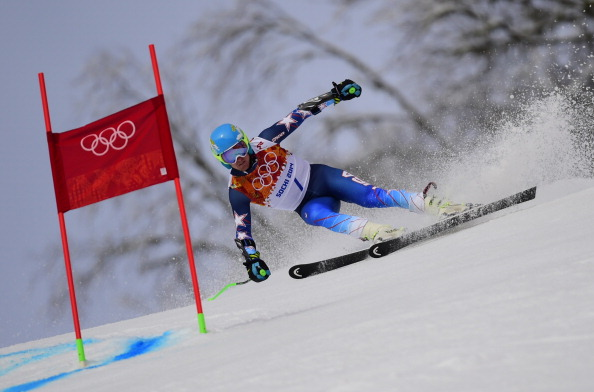 Ted Ligety leads the way in the first run of the giant slalom ©AFP/Getty Images