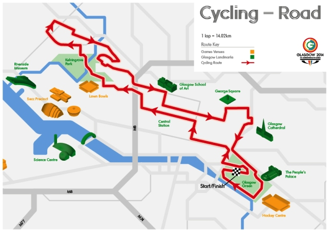 The 14km road race route will see riders speeding through the streets of Scotland's largest city on the final day of competition at the Commonwealth Games ©Glasgow 2014