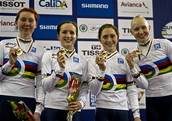 The British squad celebrate a fourth world team pursuit title ©AFP/Getty Images