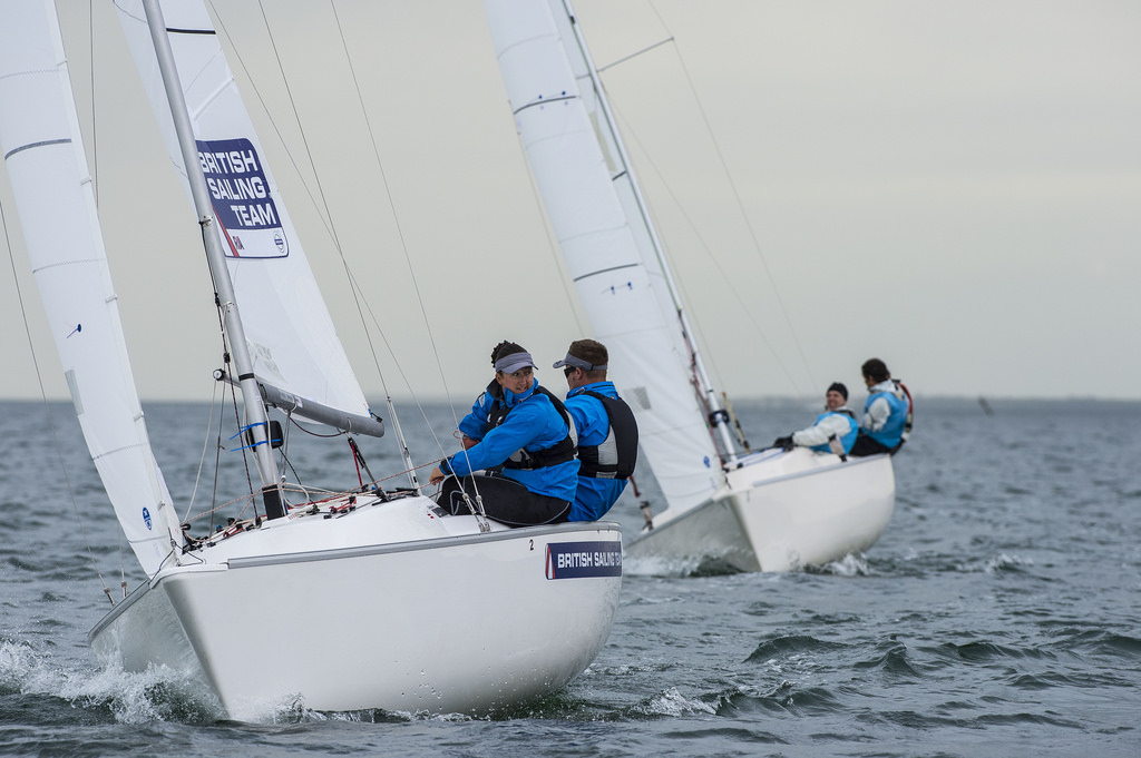 The British trio of Robertson, Hannah Stodel and Steve Thomas had to settle for silver after Frenchmen Bruno Jourdren, Eric Flageul and Nicolas Vimont Vicary secured gold in the sonar event ©Walter Cooper/US Sailing 2014