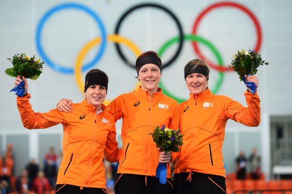 The Dutch celebrate another sweep in the speed skating to rise to second on the medals table ©AFP/Getty Images