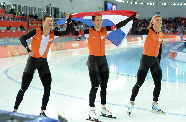 The Netherlands celebrate yet more speed-skating gold in the men's team pursuit ©AFP/Getty Images