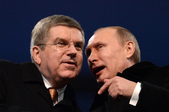 The Olympic Ring blunder was witnessed by all at the Sochi Olympic Stadium including Thomas Bach and Vladimir Putin ©AFP/Getty Images