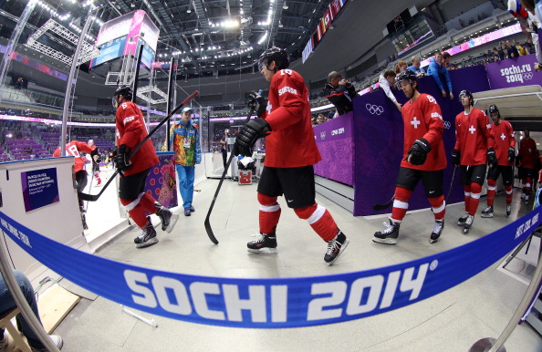 The Swiss players skate onto the ice ahead of their showdown with Sweden ©Getty Images