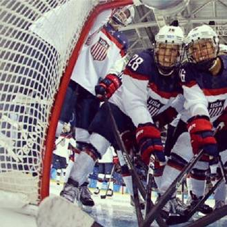 The US in full flow in the ice hockey yesterday