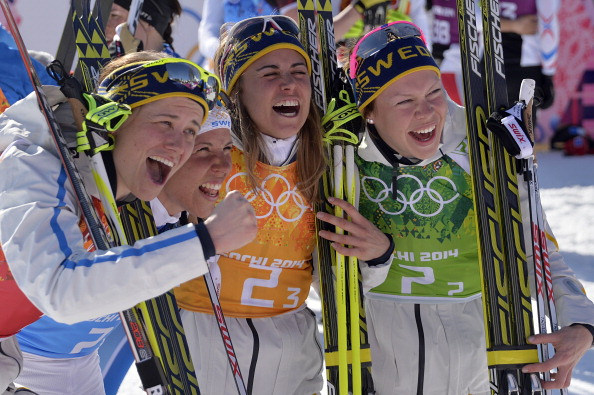 The ecstatic Swedeish quartet celebrate their thrilling gold medal ©AFP/Getty Images