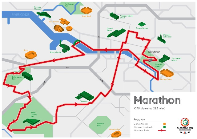 The route for the Glasgow 2014 Commonwealth Games Marathon which takes place on Sunday July 27 ©Glasgow 2014