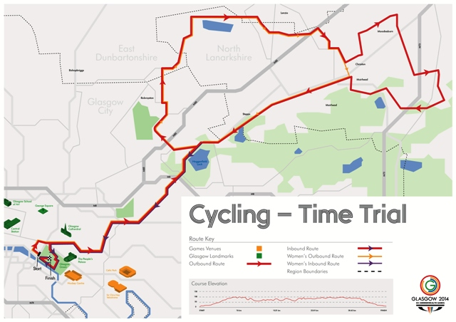 The time trial route for the Commonwealth Games will see riders head out into the countryside around Glasgow before finishing in Glasgow Green ©Glasgow 2014