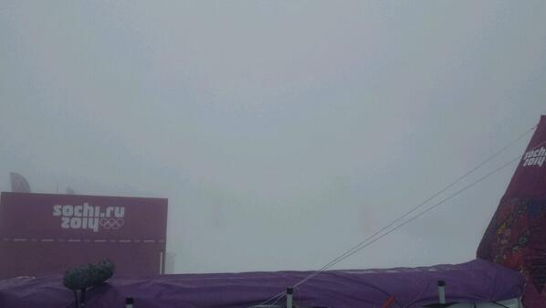 There might be a problem seeing who crosses the line first in the snowboard cross if the fog remains ©Twitter