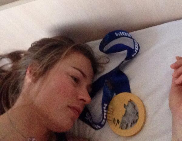 Tina Maze will have more weight on her pillow after a second gold medal ©Twitter