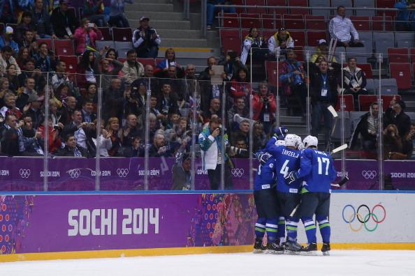 Tomaz Razingar celebrates scoring against Slovakia ©Getty Images