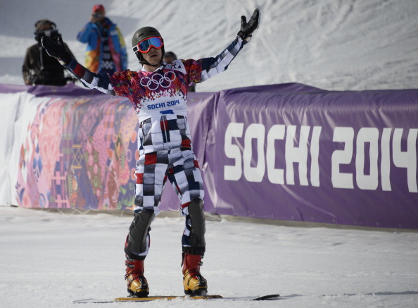 Vic Wild celebrates his second goal of the Games in slalom snowboarding ©AFP/Getty Images