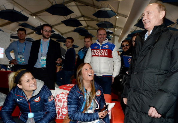 Vladimir Putin surprised Team USA athletes when he stopped by while they were having a coffee at the Olympic Villlage ©AFP/Getty Images