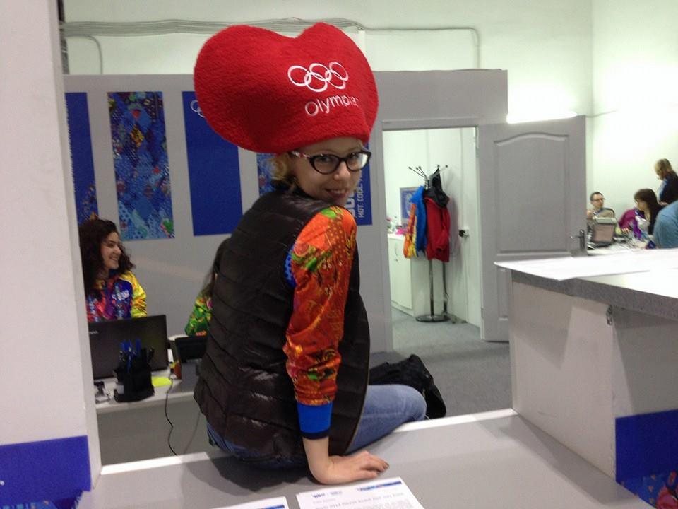 Xenia Reizhevskaya sports the Valentine's Day hat