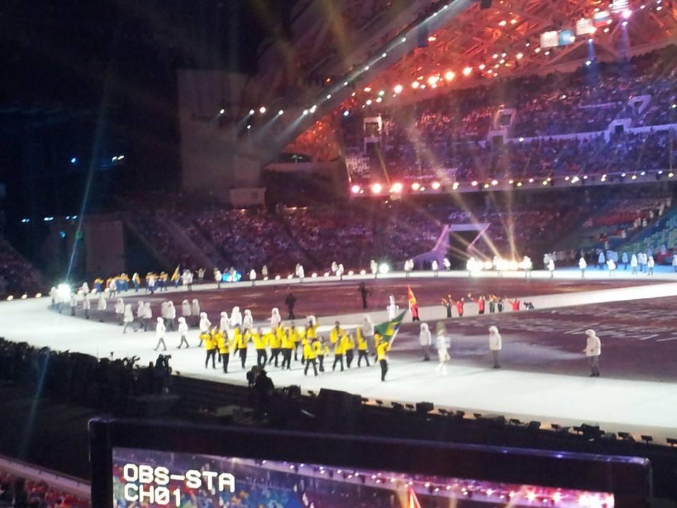 Brazil's athletes arrive in the stadium