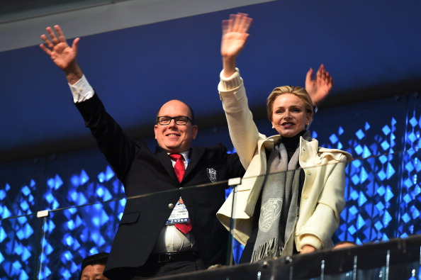 Prince Albert II of Monaco and Princess Charlene of Monaco wave to the athletes ©Getty Images