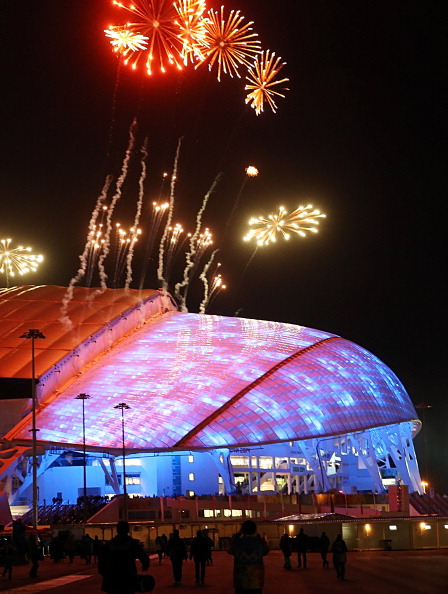 Fireworks illuminate the sky over the Fisht Olympic Stadium during the 2014 Sochi Winter Olympics opening ceremony rehearsals ©AFP/Getty Images